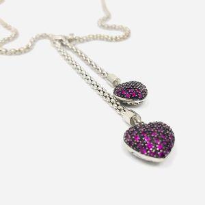 Jewelry - 🆕 sterling heart💗necklace w rubies/diamonds*